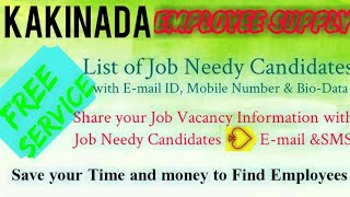KAKINADA      EMPLOYEE SUPPLY   ! Post your Job Vacancy ! Recruitment Advertisement ! Job Informatio