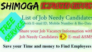 SHIMOGA      EMPLOYEE SUPPLY   ! Post your Job Vacancy ! Recruitment Advertisement ! Job Information