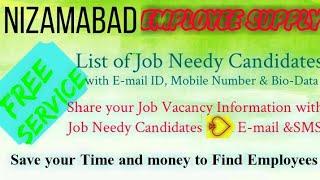 NIZAMABAD      EMPLOYEE SUPPLY   ! Post your Job Vacancy ! Recruitment Advertisement ! Job Informati