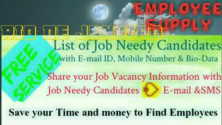 RIO DE JANEIRO    Employee SUPPLY ☆ Post your Job Vacancy 》Recruitment Advertisement ◇ Job Informati