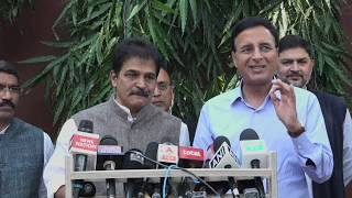 KC Venugopal and Randeep Singh Surjewala addresses media at 15 GRG