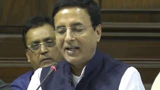 Randeep Singh Surjewala addresses media in Parliament House on the Electoral Bonds Scam