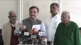 B. K. Hariprasad and Vivek Tankha addresses media in Parliament House on the Electoral Bonds Scam