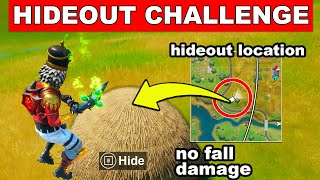 Save yourself from fall damage by landing in a Hideout Challenge (Trick Shot Mission) - Fortnite