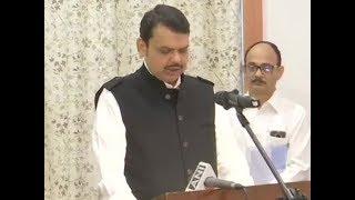 Devendra Fadnavis sworn-in as Maha CM, Ajit Pawar as Dy CM