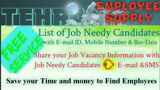 TEHRAN     Employee SUPPLY ☆ Post your Job Vacancy 》Recruitment Advertisement ◇ Job Information ☆□●○