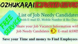 OZHUKARAI      EMPLOYEE SUPPLY   ! Post your Job Vacancy ! Recruitment Advertisement ! Job Informati