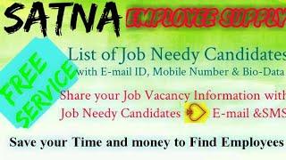 SATNA      EMPLOYEE SUPPLY   ! Post your Job Vacancy ! Recruitment Advertisement ! Job Information 1