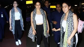 Simple Yet Beautiful Sara Ali Khan Spotted At Mumbai Airport