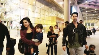 Sunny Leone With Husband Daniel Weber And Kids Spotted At Mumbai Airport