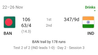 India vs Bangladesh 2nd Test   Day 2 Live Score: India 6 Wt away from win