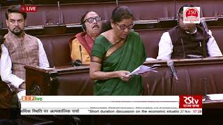 Smt. Nirmala Sitharaman on the economic situation in the country in Rajya Sabha: 27.11.2019