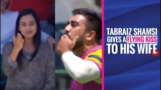 MSL 2019: Tabraiz Shamsi gives a flying kiss to his wife during his wicket celebration