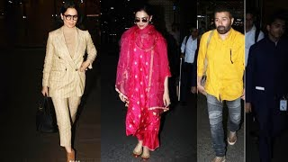 Deepika Padukone Kangana Ranaut Sunny Deol Spotted At Mumbai Airport