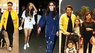 Disha Patani Zareen Khan Karan Johar And Manish Paul With Family Spotted at Mumbai Airport