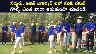 Rakul Preet Singh Playing Golf with Sadhguru And Ajith Agarkar