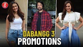 Sudeep, Sonakshi Sinha and Saiee Manjrekar promote Dabangg 3 in style