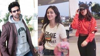 Pati Patni Aur Woh Team Kartik Aaryan, Bhumi And Ananya Fly To Delhi For Promotion