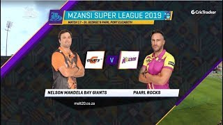 Highlights |  Nelson Mandela Bay Giants vs Paarl Rocks | Match 17 | MSL 2019