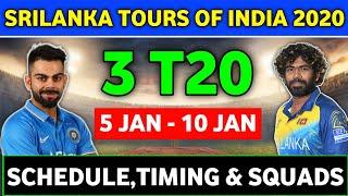 India vs SriLanka T20 Series 2020 Full Schedule,Venues,Timing & Squads