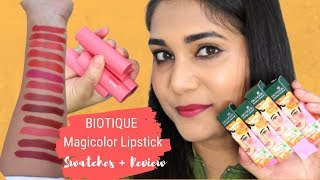 Lipstick for 125₹ only? Biotique Magicolor Lipsticks | Swatches & Reviews | Nidhi Katiyar