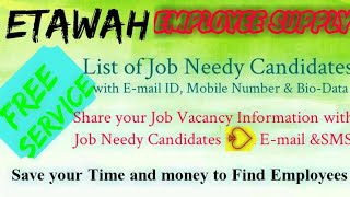 ETAWAH    EMPLOYEE SUPPLY   ! Post your Job Vacancy ! Recruitment Advertisement ! Job Information