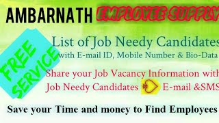 AMBERNATH    EMPLOYEE SUPPLY   ! Post your Job Vacancy ! Recruitment Advertisement ! Job Information