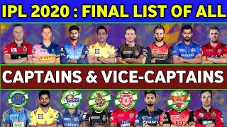 IPL 2020 - List of All Teams Captains & Vice Captains | Cricket Express
