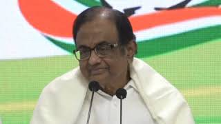 P Chidambaram addresses media in Congress HQ on The Economic Crisis in India