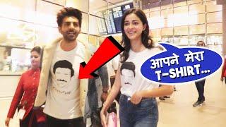 Ananya Pandey And Kartik Aaryan Flaunts Pati Patni Aur Woh Special T-Shirt At Mumbai Airport