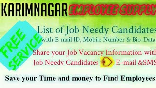 KARIMNAGAR    EMPLOYEE SUPPLY   ! Post your Job Vacancy ! Recruitment Advertisement ! Job Informatio