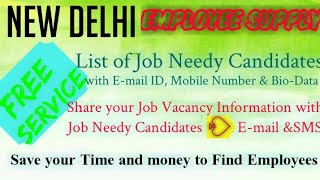 NEW DELHI    EMPLOYEE SUPPLY   ! Post your Job Vacancy ! Recruitment Advertisement ! Job Information