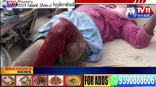 ROAD ACCIDENT RTC BUS HITS 2 WHEELER AT MADHANAPURAM |T.S