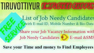 TIRUVOTTIVlYUR    EMPLOYEE SUPPLY   ! Post your Job Vacancy ! Recruitment Advertisement ! Job Inform
