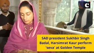 SAD president Sukhbir Singh Badal, Harsimrat Kaur perform 'seva' at Golden Temple