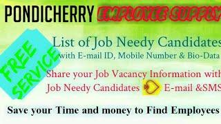 PONDICHERRY    EMPLOYEE SUPPLY   ! Post your Job Vacancy ! Recruitment Advertisement ! Job Informati