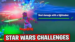 DEAL DAMAGE WITH A LIGHTSABER FORTNITE - STAR WARS CHALLENGES! How to Find a LightSaber in Fortnite