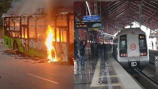 नागरिकता बिल: हिंसक प्रदर्शन के बाद, 10 मेट्रो स्टेशन बंद // THE NEWS INDIA
