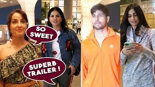 Street Dancer Nora Fatehi Spotted at Mumbai Airport With Sunny Leone, Siddharth Malhotra, Daisy Shah