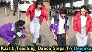 Kartik Aryaan Teaching Dance Steps To Deepika Padukone | Deepika Promotes PATI PATNI AUR WOH