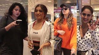 Anushka shetty, Bhumi pednekar, Huma qureshi & Krystle d'souza Spotted At Airport
