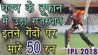 IPL2018 SRH vs RR Live: Dhawan in fine form as Hyderabad close in on victory| Shikhar Dhawan 50*