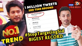 Bigg Boss 13 | Sidharth Shukla FANS Creates BIGGEST Record Again | 1 MILLION Tweets | BB 13 Video