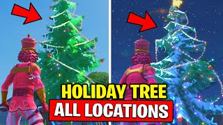 FORTNITE DANCE AT HOLIDAY TREES IN DIFFERENT NAMED LOCATIONS! WINTERFEST CHALLENGES