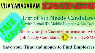 VIJAYANAGARAM    EMPLOYEE SUPPLY   ! Post your Job Vacancy ! Recruitment Advertisement ! Job Informa
