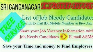 SRI GANGANAGAR    EMPLOYEE SUPPLY   ! Post your Job Vacancy ! Recruitment Advertisement ! Job Inform