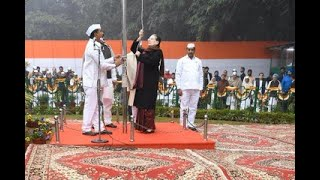 Congress President Smt. Sonia Gandhi hoists flag on the occasion of 135th Congress Foundation Day