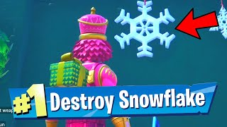 DESTROY SNOWFLAKE DECORATIONS - ALL LOCATIONS SNOWFLAKE DECORATIONS IN FORTNITE WINTERFEST CHALLENGE