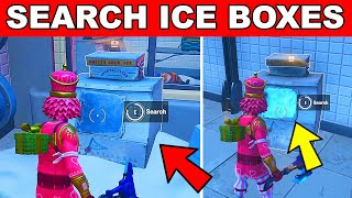 SEARCH ICE BOXES -  ALL ICE BOX LOCATIONS WINTERFEST CHALLENGES FORTNITE - SEARCH ICE MACHINES