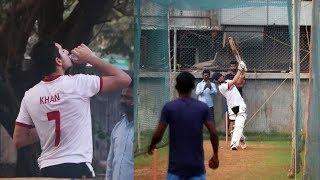Ibrahim Ali Khan Snapped While Playing Cricket Today At JUHU